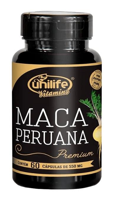 Maca Peruana Premium Pura 60 Cápsulas 550mg Unilife