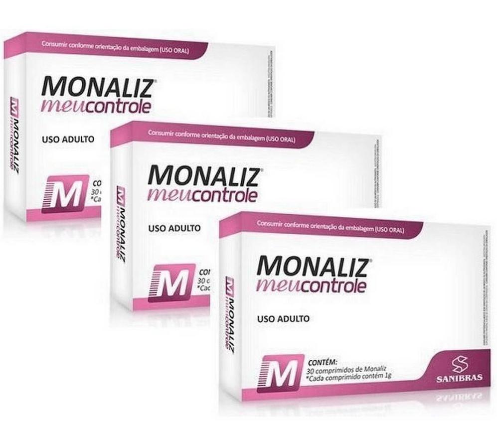 Monaliz 30 Comprimidos para Aumento da Saciedade kit com 3 unidades