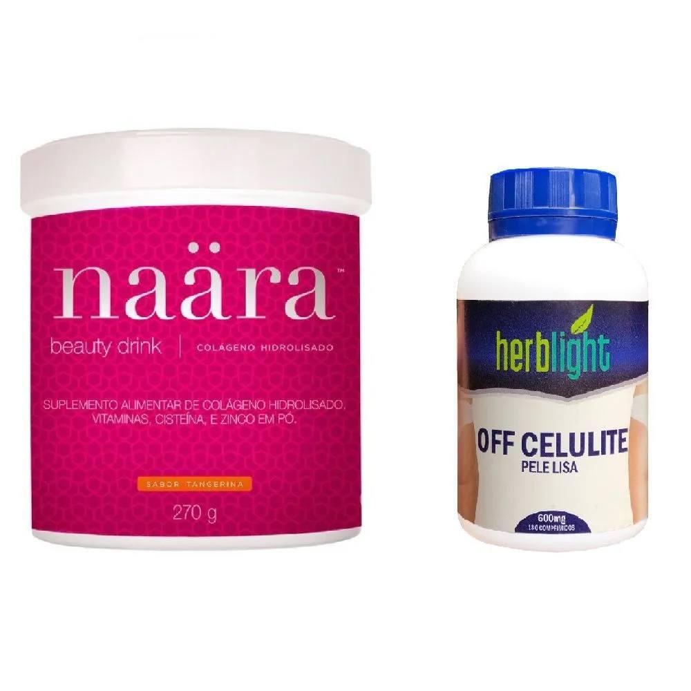 Naara Colágeno Tangerina 270 g e OFF Celulite 180 Comprimidos Herblight