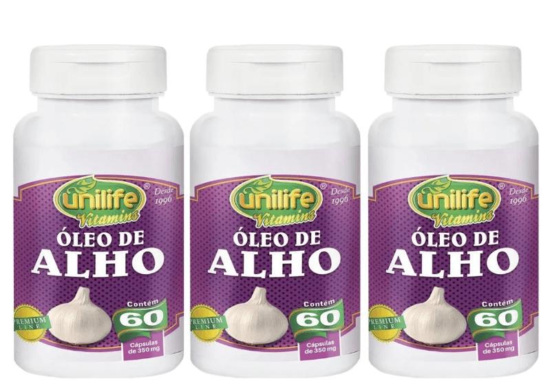 Óleo De Alho 60 Cápsulas 350mg Unilife Kit 3 Unidades