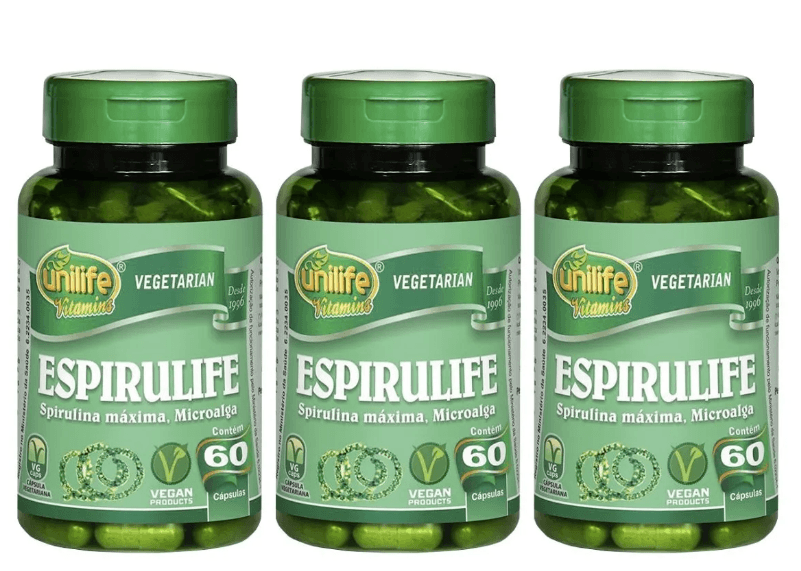 Spirulina Espirulife 60 Cápsulas 500mg Unilife Kit 3 unidades