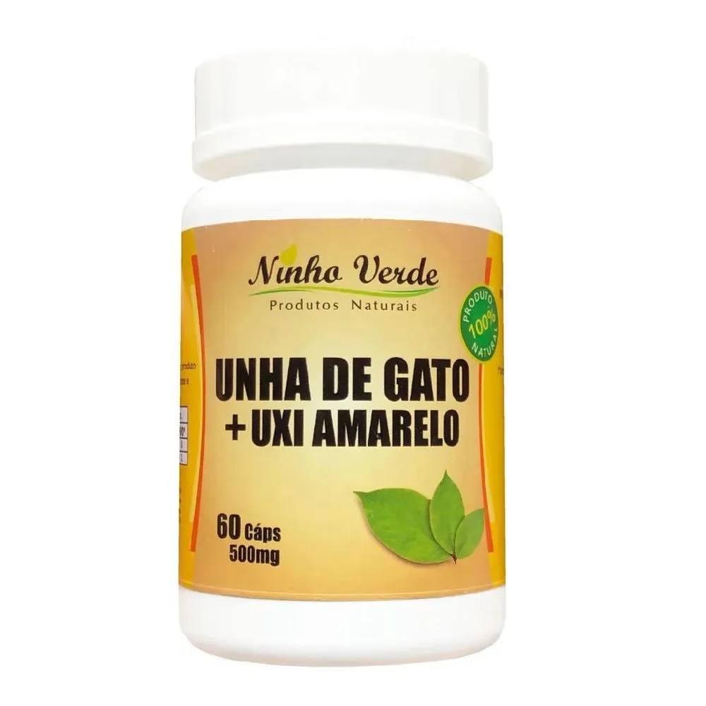 Unha de gato + Uxi Amarelo 500 mg 60 cápsulas Ninho Verde