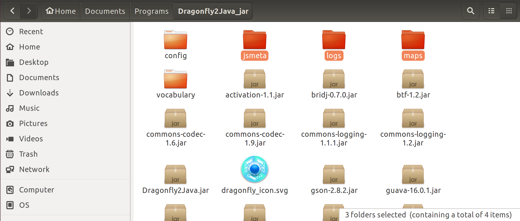 Folders to be deleted at the root of Dragonfly installation