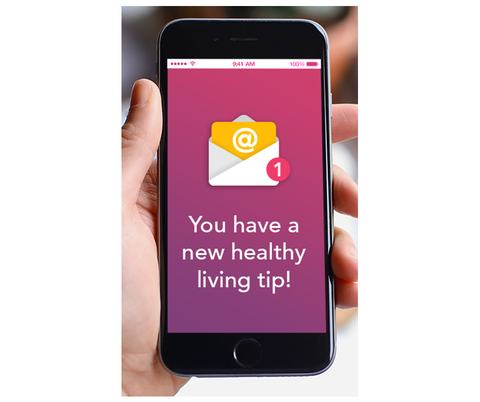 "A phone screen that says ""You have a new healthy living tip!"" Get weekly tips from National Breast Cancer Foundation."