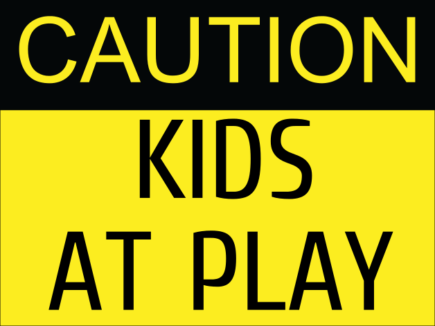 caution kids at play Step2 kid alert visual warning signal vws - 32-inch caution go slow children at play signage - durable plastic outdoor playtime safety signs for kids with flag.