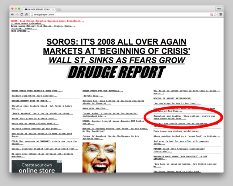 Drudge screenshot about dangers of sitting