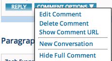 Comment Options menu
