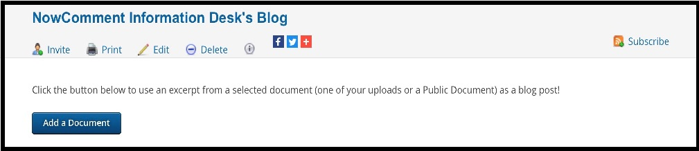 screen to start adding documents to the new blog