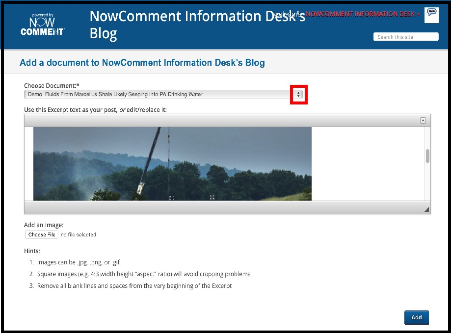 Picklist interface for adding documents to a blog