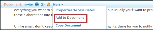 This is how to access Add to Document from the document itself