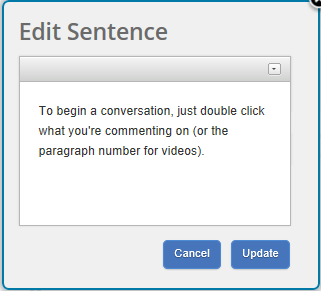 The Edit Sentence Window, featuring the sentence edited
