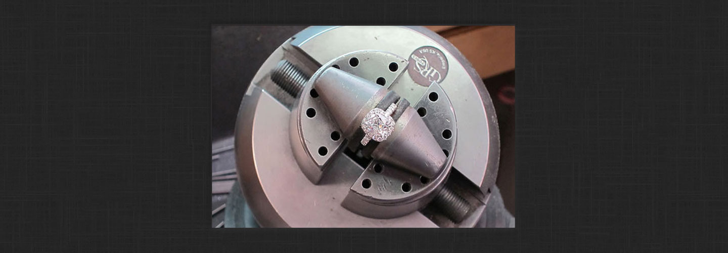 engagement ring in vise