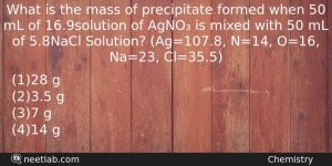 What-is-the-mass-of-precipitate-formed-when-50-mL-Chemistry-Question-