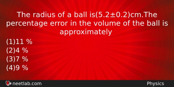 The Radius Of A Ball Is5202cmthe Percentage Error In The