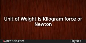 What Is The Unit Of Weight Physics