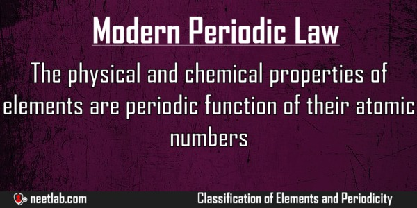 Modern Periodic Law Classification Of Elements And Periodicity Explanation
