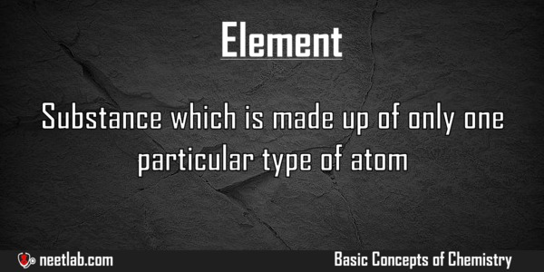 Element Basic Concepts Of Chemistry Explanation