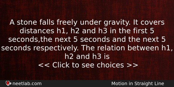 A stone falls freely under gravity  It covers distances h1, h2 and
