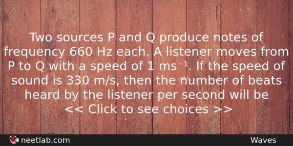 Two sources P and Q produce notes of frequency 660 Hz each