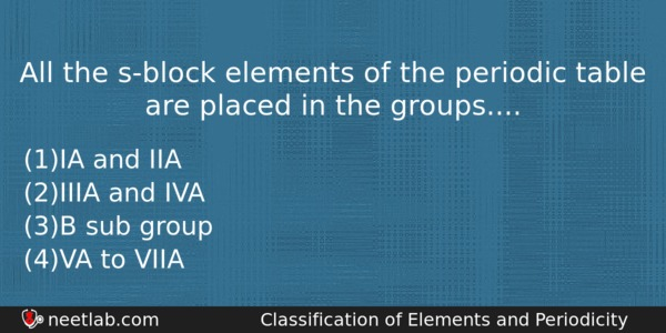 All The S Block Elements Of The Periodic Table Are Placed In The