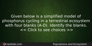 Given Below Is A Simplified Model Of Phosphorus Cycling In Biology Question