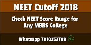 Neet Cutoff 2018 Medical College Govt Private