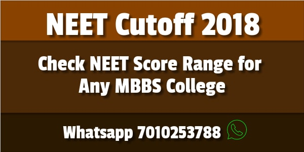 Neet Cutoff 2018 Medical College Govt Private