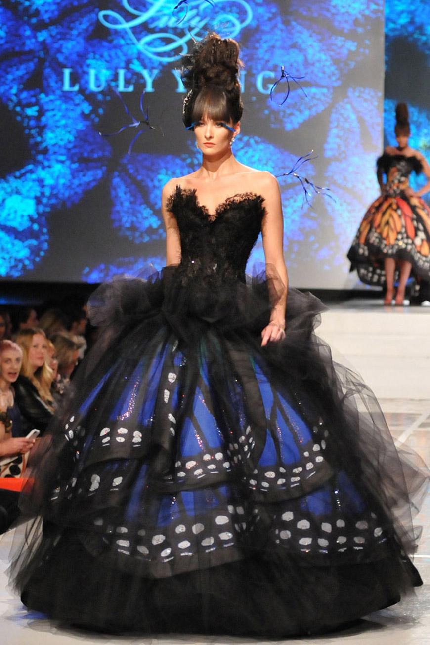 Blue Morpho Monarch dress by Luly Yang