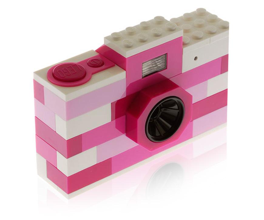 Pink brick digital camera by Lego