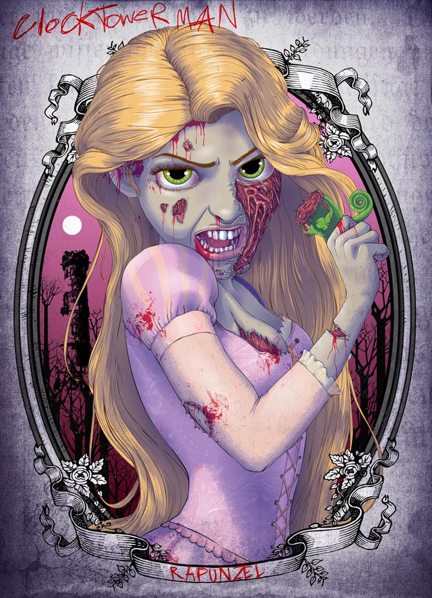 Zombie Rapunzel by Clocktowerman