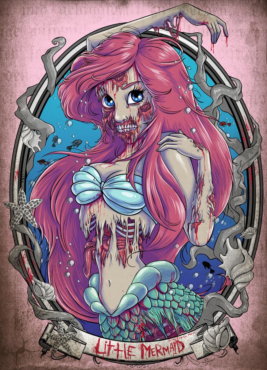 Zombie Ariel by Clocktowerman
