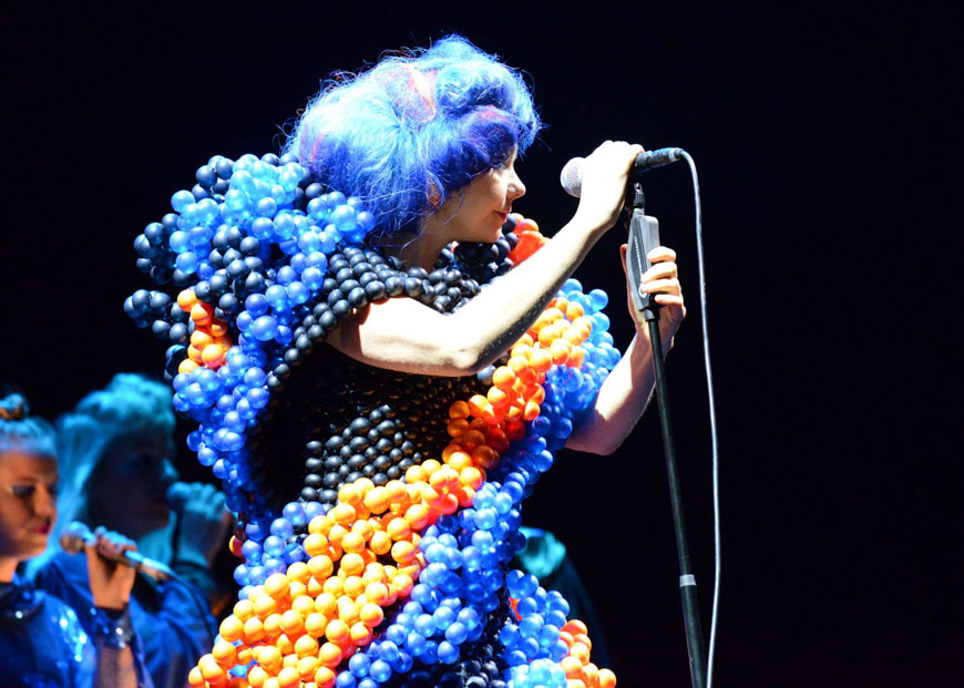 Björk wearing a balloon dress by Daisy Balloon