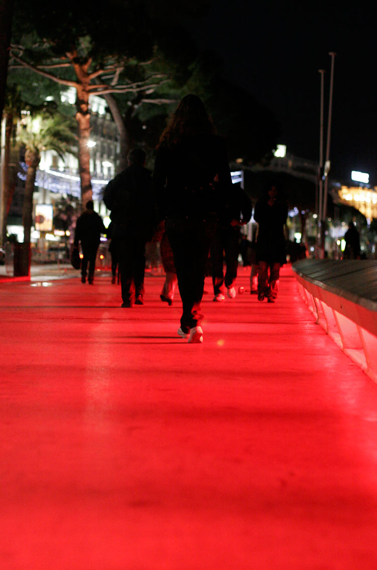 Light red carpet at the Promenade de la Croisette
