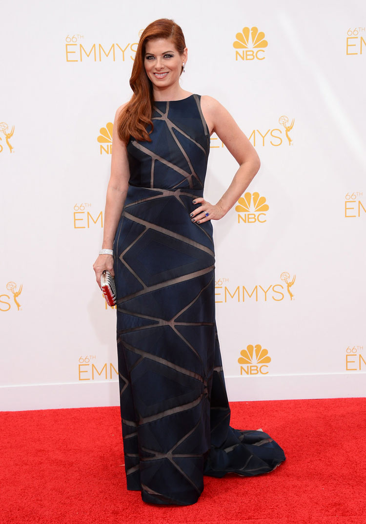 Debra Messing in Angel Sanchez at the 2014 Emmy Awards