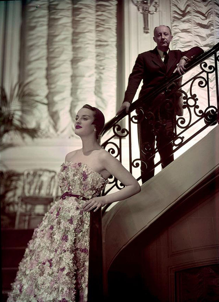 Christian Dior and model Simone wearing the Miss Dior dress, Spring 1949