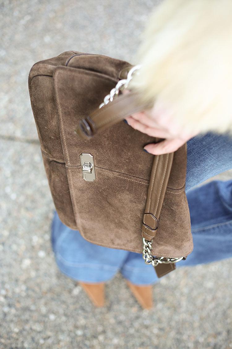 retro suede handbag