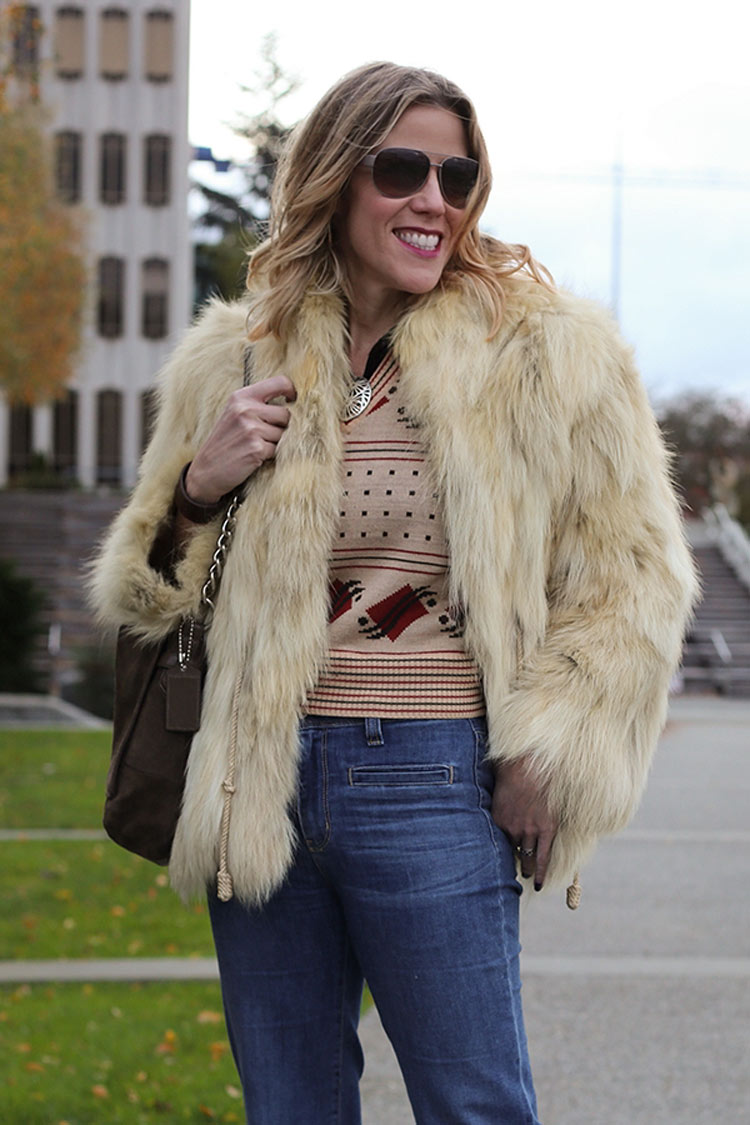 fur coat with a vest for a '70s look