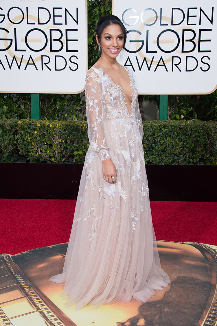 Corinne Foxx wearing Paolo Sebastian at the 2016 Golden Globe Awards