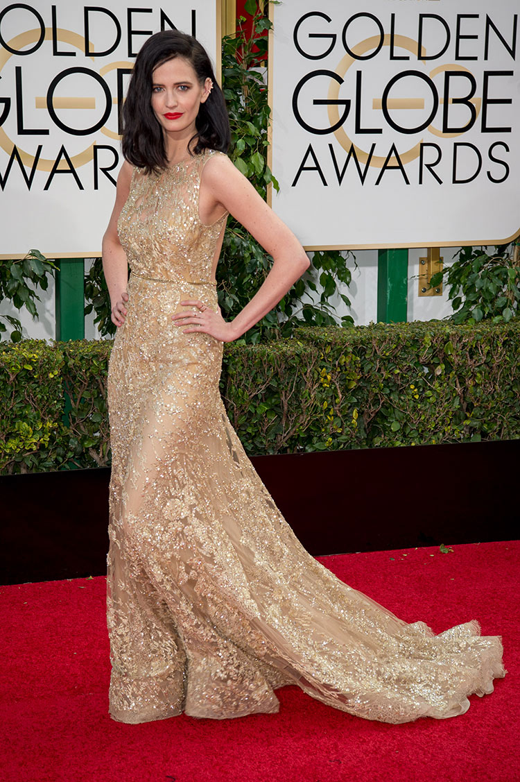 Eva Green wearing Elie Saab at the 2016 Golden Globe Awards