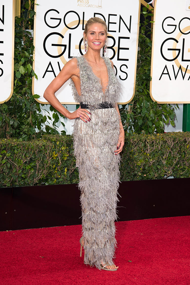 Heidi Klum wearing Marchesa at the 2016 Golden Globe Awards
