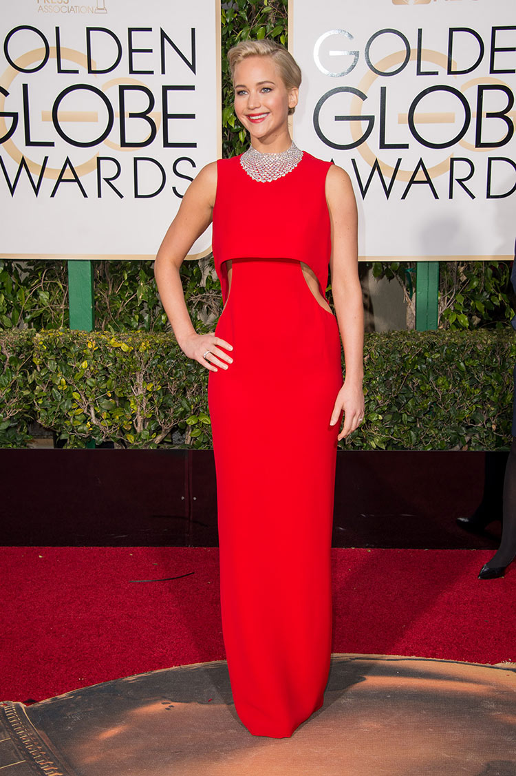 Jennifer Lawrence wearing Dior at the 2016 Golden Globe Awards