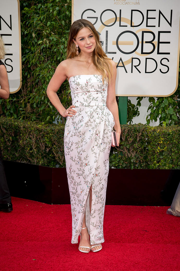 Melissa Benoist wearing Monique Lhuillier at the 2016 Golden Globes at the 2016 Golden Globe Awards