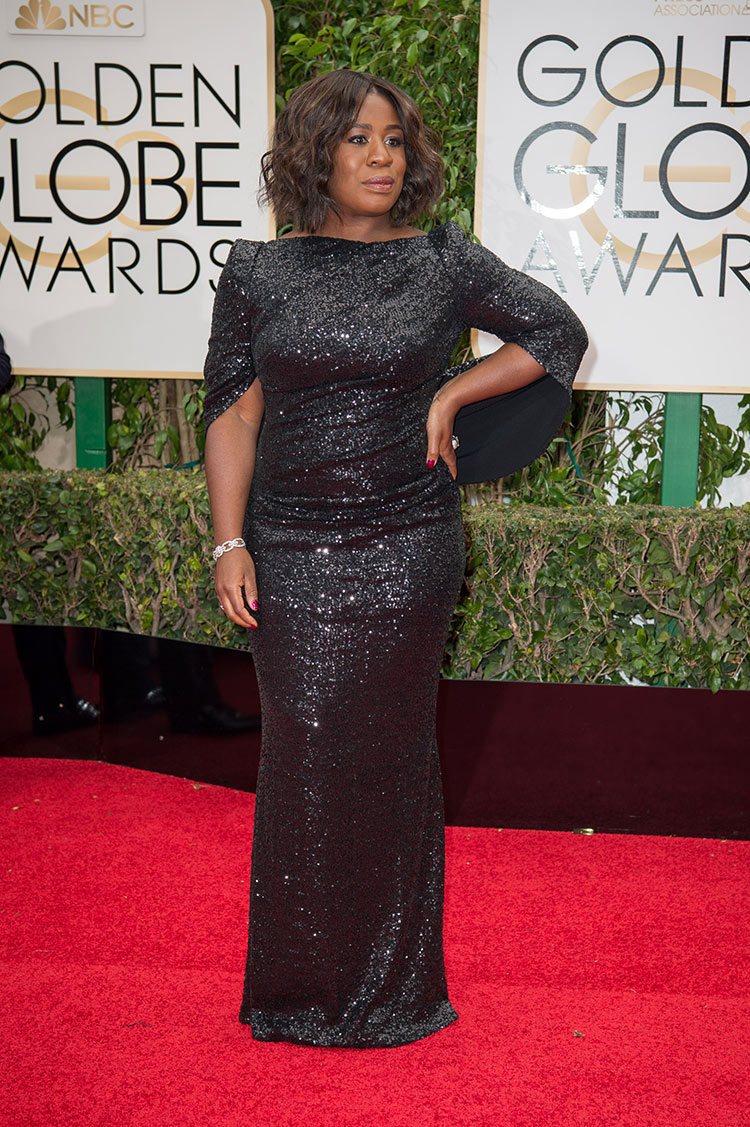 Uzo Aduba wearing Marchesa at the 2016 Golden Globe Awards