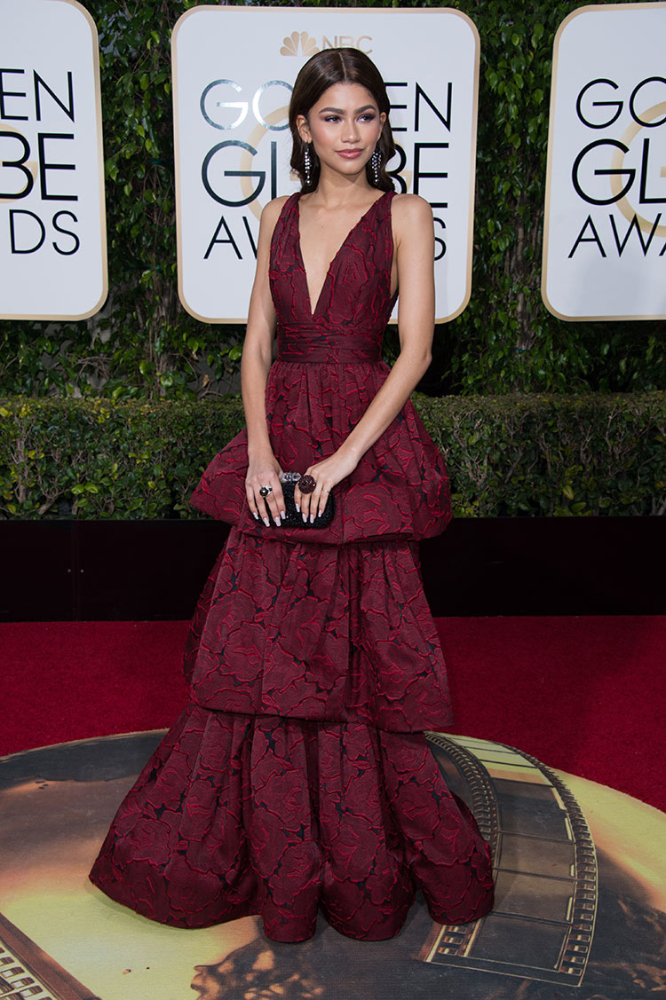 Zendaya Coleman wearing Marchesa at the 2016 Golden Globe Awards
