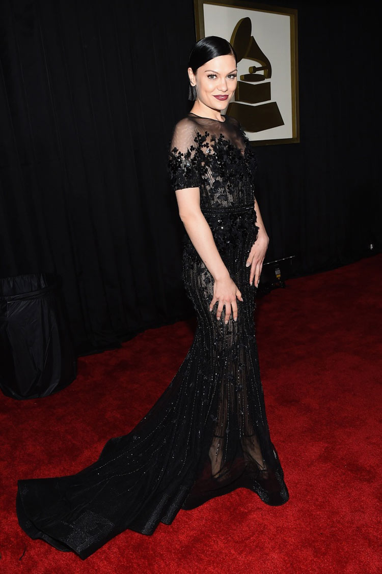 Jessy J. wearing Ralph & Russo at the 2015 Grammy Awards