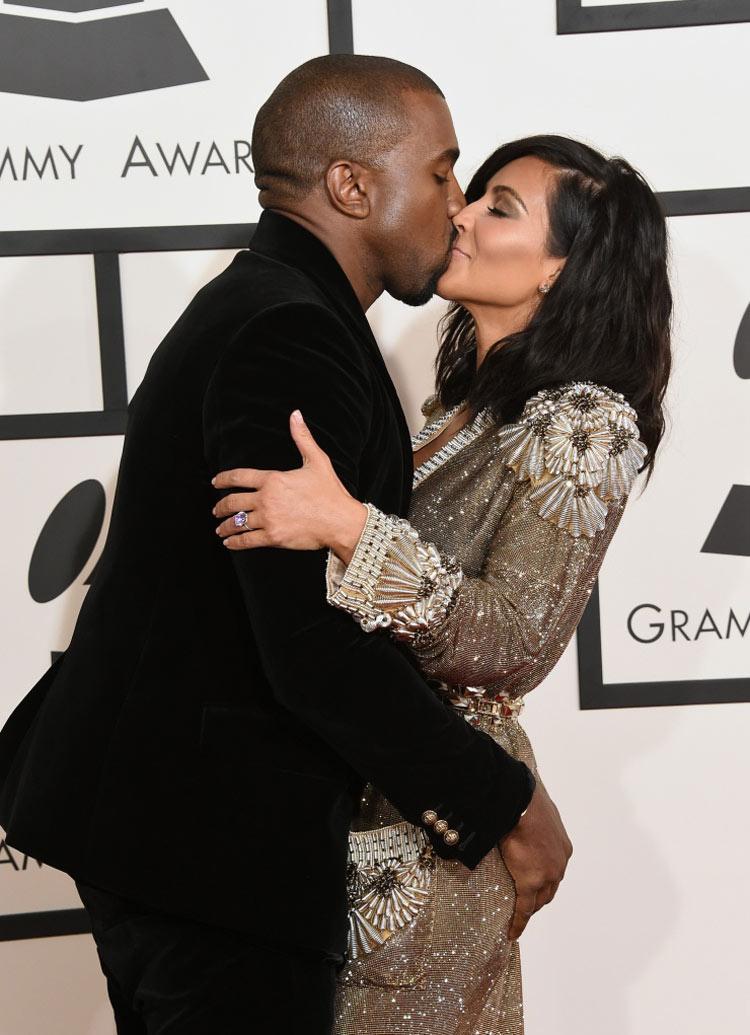 Kanye West and Kim Kardashian wearing Balmain and Jean Paul Gaultier at the 2015 Grammy Awards