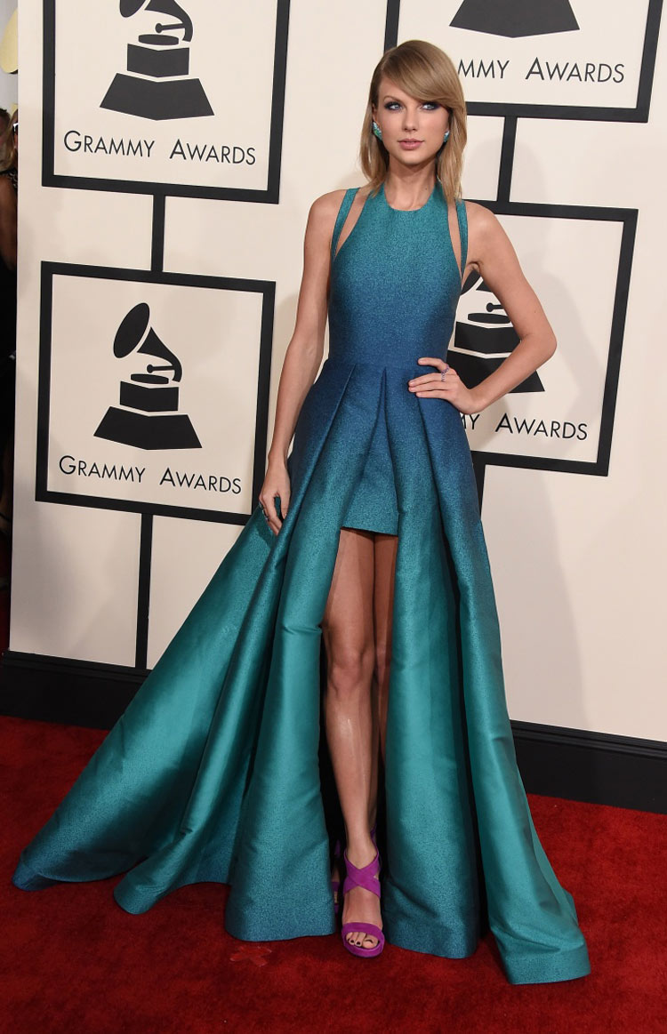 Taylor Swift wearing Elie Saab at the 2015 Grammy Awards
