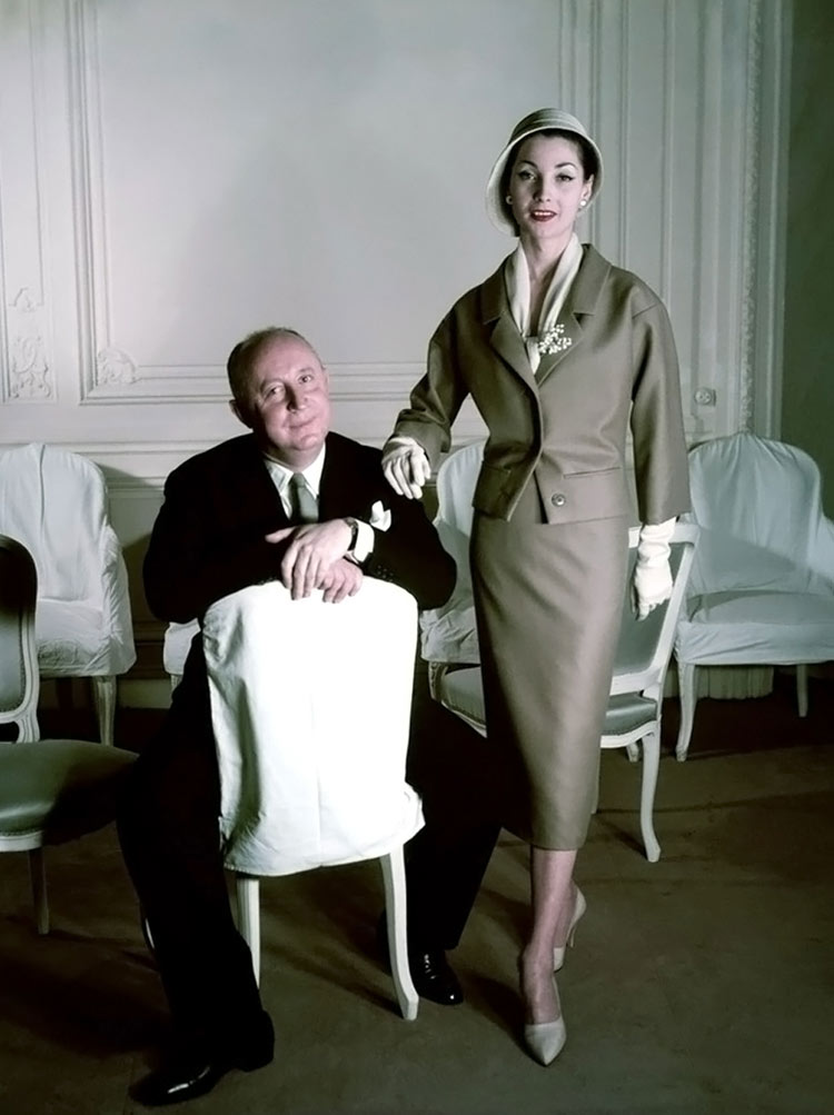 Christian Dior and model Renée, 1957. Photo by Henry Clarke