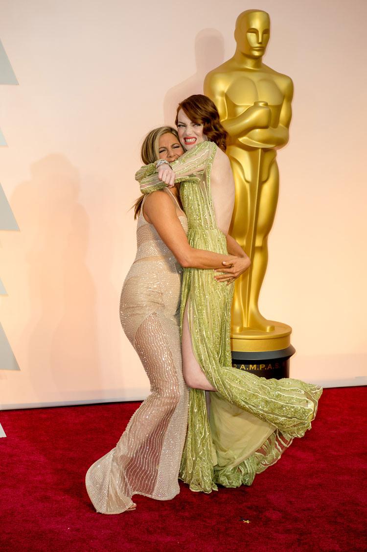 Jennifer Aniston and Emma Stone at the Oscars 2015