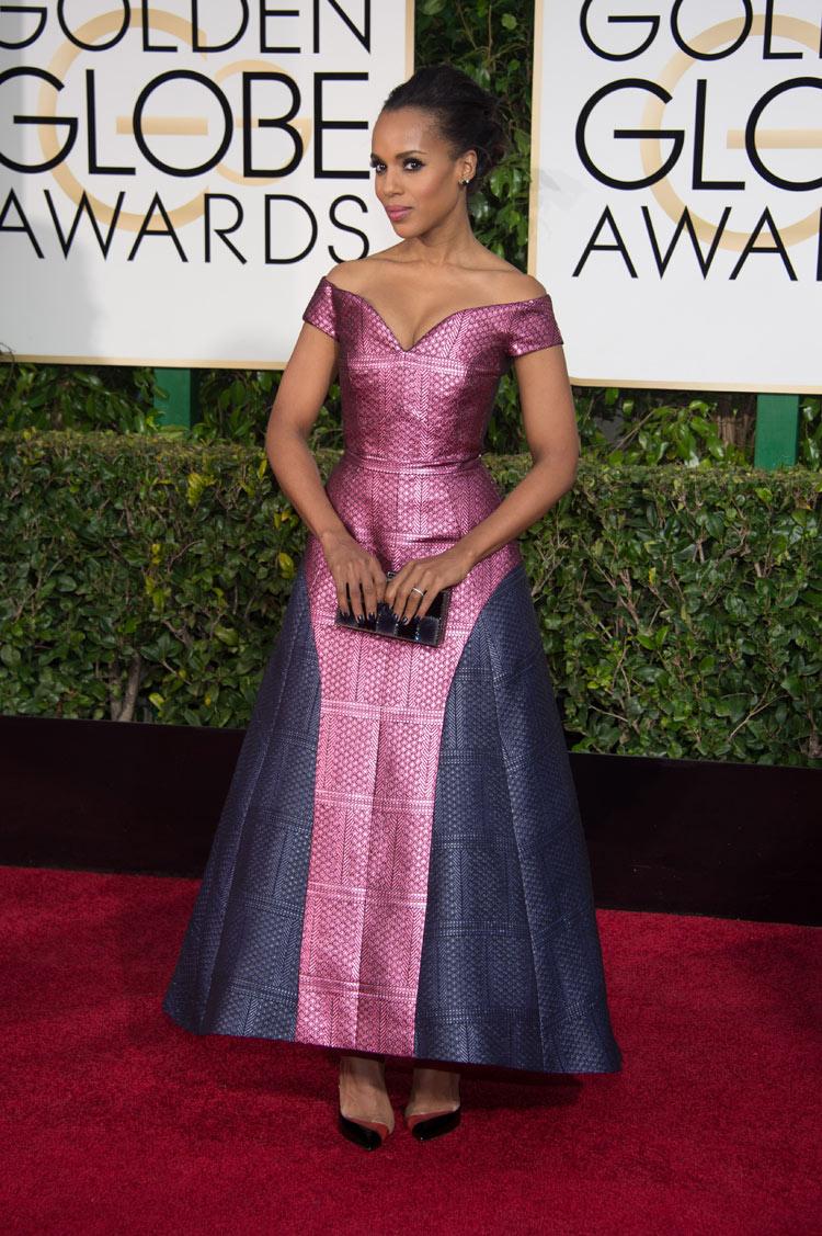 Kerry Washington wearing Mary Katrantzou at the 2015 Golden Globe Awards